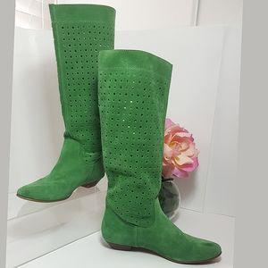 ALDO💚 Green Leather Suede Below Knee Boots